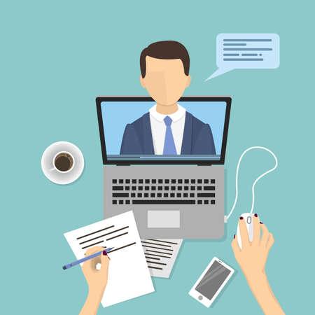 Webinar concept illustration, people studying online.