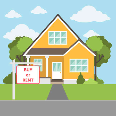 Buy or rent house concept. Vectores