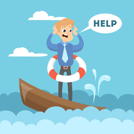 Man on boat screaming help. Illustration