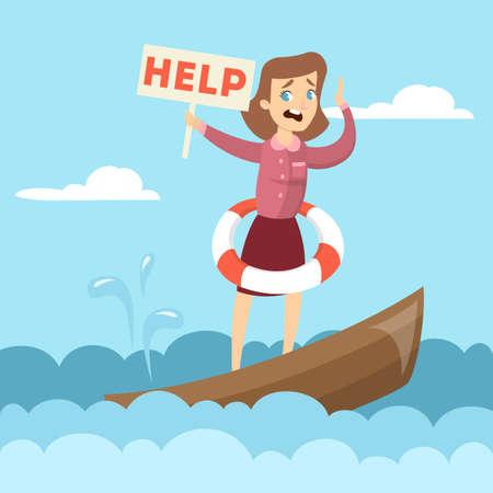 Mujer en barco con signo de ayuda . Foto de archivo - 88370804
