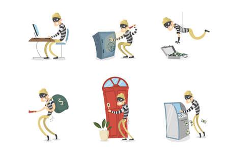 Cartoon man with mask stealing. Çizim