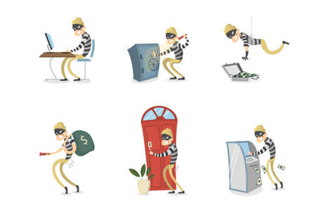 Cartoon man with mask stealing. Illustration