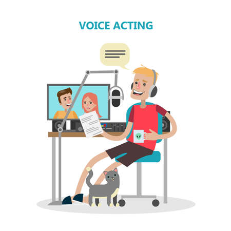 Voice acting man with mic and tools. Illustration