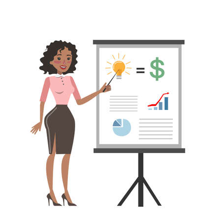 Businesswoman with chart board.