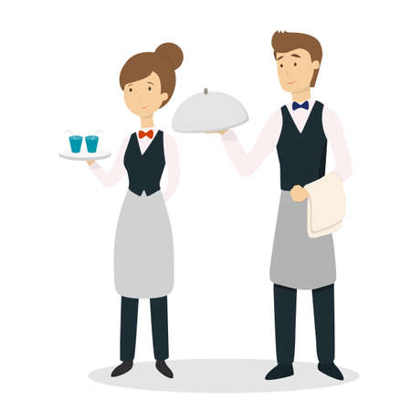 Isolated waiter couple. Stock Illustratie