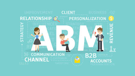 ABM-conceptenillustratie. Account-gebaseerde marketing. Idee van zaken, strategie en financiën.