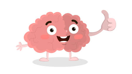 Isolated happy brain with thumb up on white background.