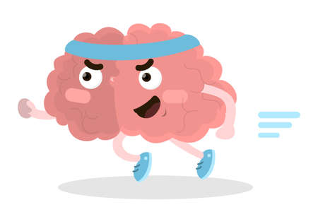 Isolated running brain in sport clothes on white background. Illustration
