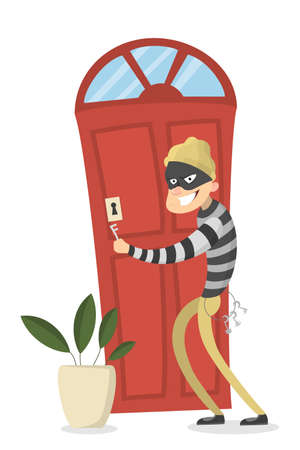 intruder: Thief opening door. Illustration