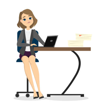 Isolated smiling businesswoman sitting at the desk on white background. Illustration