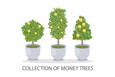 Money trees set. Illustration
