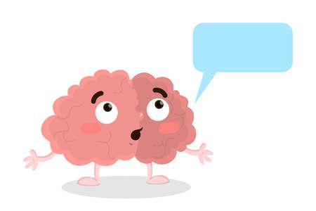 Isolated amazed brain with speech bubble on white background.