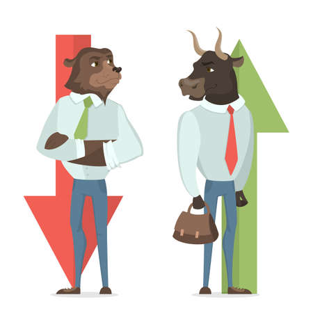 Ilustración del concepto de Toro y oso. Cambio de mercado, comercio y negocios.