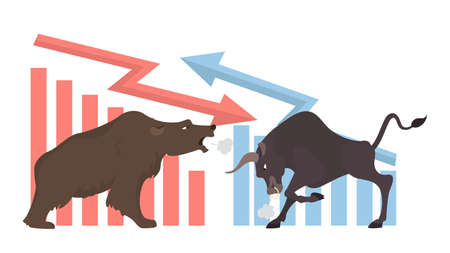 Bull and bear concept illustration. Market exchanging, trading and business. Vettoriali