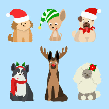 Christmas dogs set. Funny cartoon animals in santa hats. Illustration