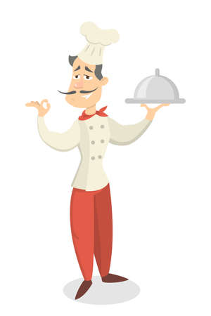 Chef at restaurant in hat with meal on white background. Illustration