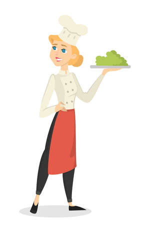 Female chef at restaurant in hat with meal on white background. Illustration