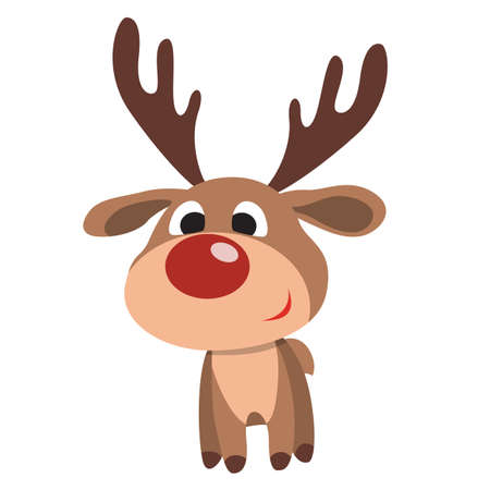 Isolated Christmas deer with red nose on white background.