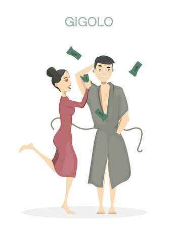 ample: Gigolo with woman. Isolated playboy man in bathrobe with screaming happy woman with money. Illustration