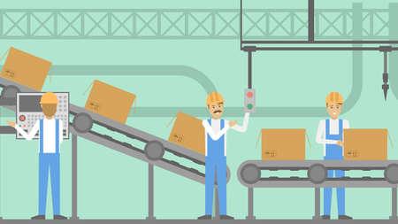 Mensen in de fabriek die aan de productielijn werken. Stock Illustratie