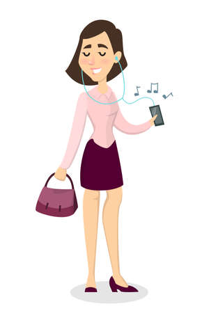 Isolated smiling woman listening to the music with smartphone. Illustration