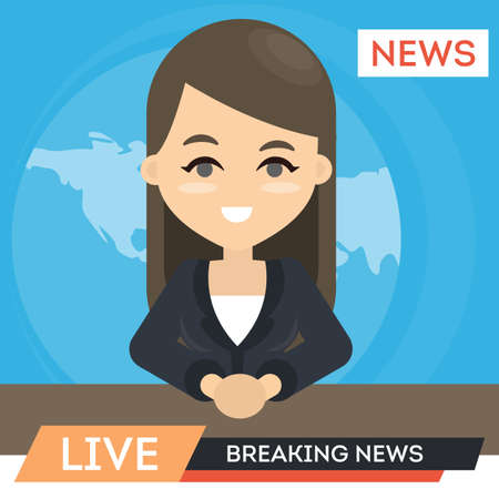TV news anchor. Woman presentor with breaking news.