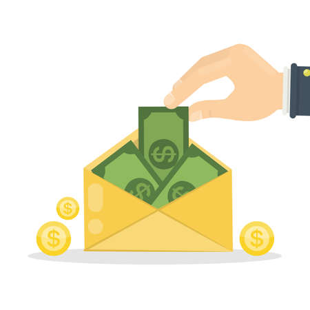 email icon: Money in envelope. Cash green money sending in yellow mail.