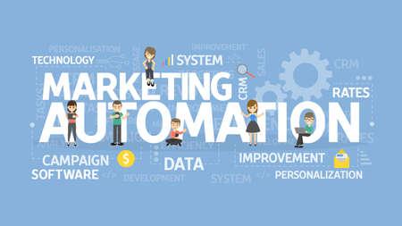 Marketing Automation Konzept Abbildung. Vorstellung von Technologie und Geschäft.