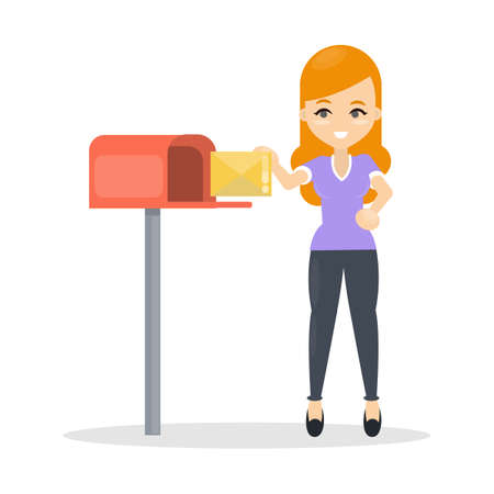 Woman sending letter using mailbox on white background.