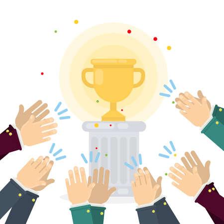 Taza de oro de los ganadores en pedestal con manos que aplauden. Ilustración de vector