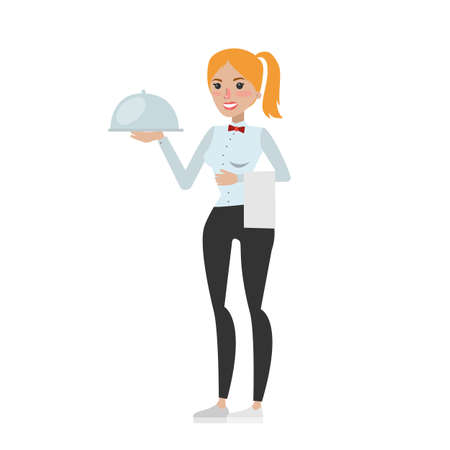 Isolated young waitress with tray on white background.