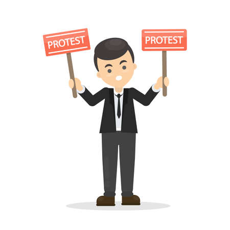 Isolated man with red protest signs on white background.