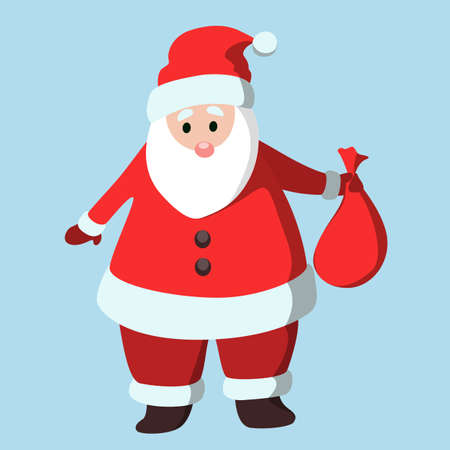 belt up: Isolated funny cartoon Santa Claus with toy bag.