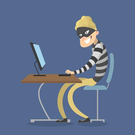 Diebstahl von Daten vom Computer. Cyber-Kriminalität Vektorgrafik