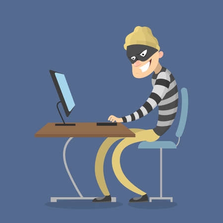 Theif stealing data from computer. Cyber crime. Stock Illustratie