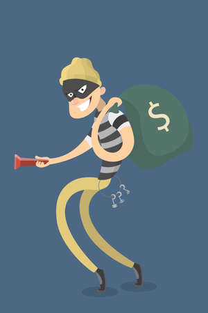 Thief stealing money with money bag. Bank crime.
