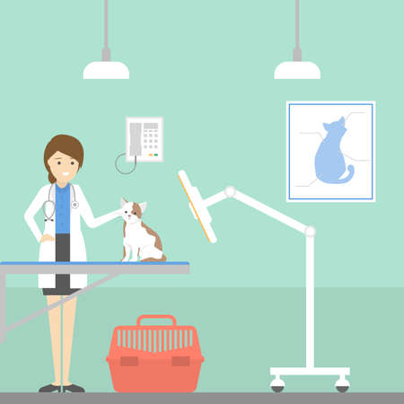 Vet clinic ward with doctor, medication and animals. Иллюстрация