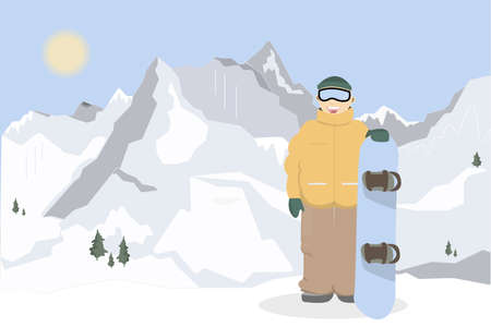 Snowboarding in mountains. Man in winter clothes and snowboard standing.