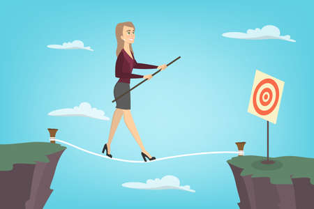 Businesswoman tightrope walker. Idea of risky and courage business. Vectores