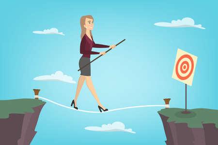 Caminante de la cuerda floja de la empresaria. Idea de negocio arriesgado y coraje.
