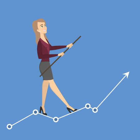 Businesswoman tightrope walker. Idea of risky and courage business. Arrow growth. Illustration