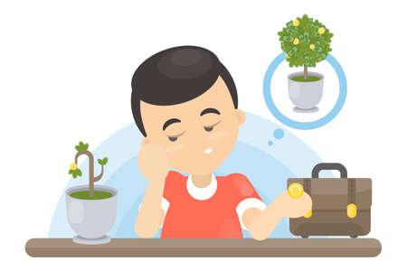sad businessman: Isolated sad businessman with wilting money tree dreaming of wealth. Illustration