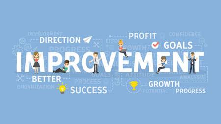 改善コンセプト イラスト。成功、成長、利益のアイデア。