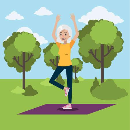 Yoga for elderly. Senior woman doing yoga at park.