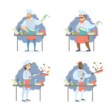 Chef people set. Men and women in unifrom cooking meals. Illustration