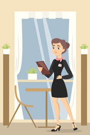 Restaurant female manager. Illustration