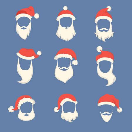 Santa beards set. Illustration