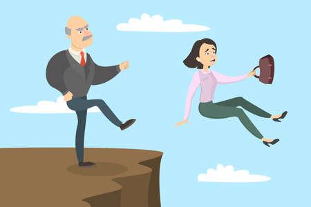 Boss kicks out. Illustration