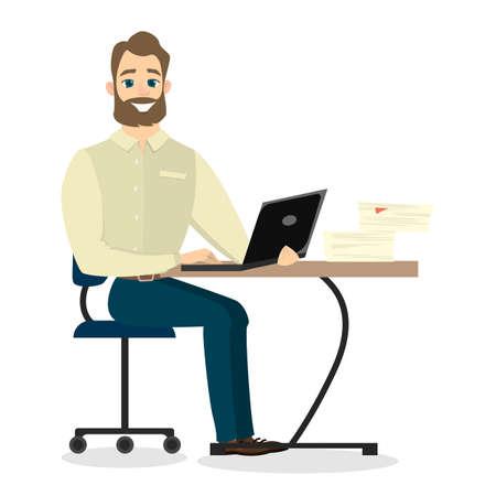 Businessman at office. Illustration