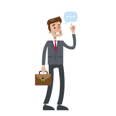 Isolated businessman thinking. Illustration